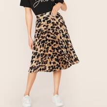 Leopard Pleated Satin Skirt