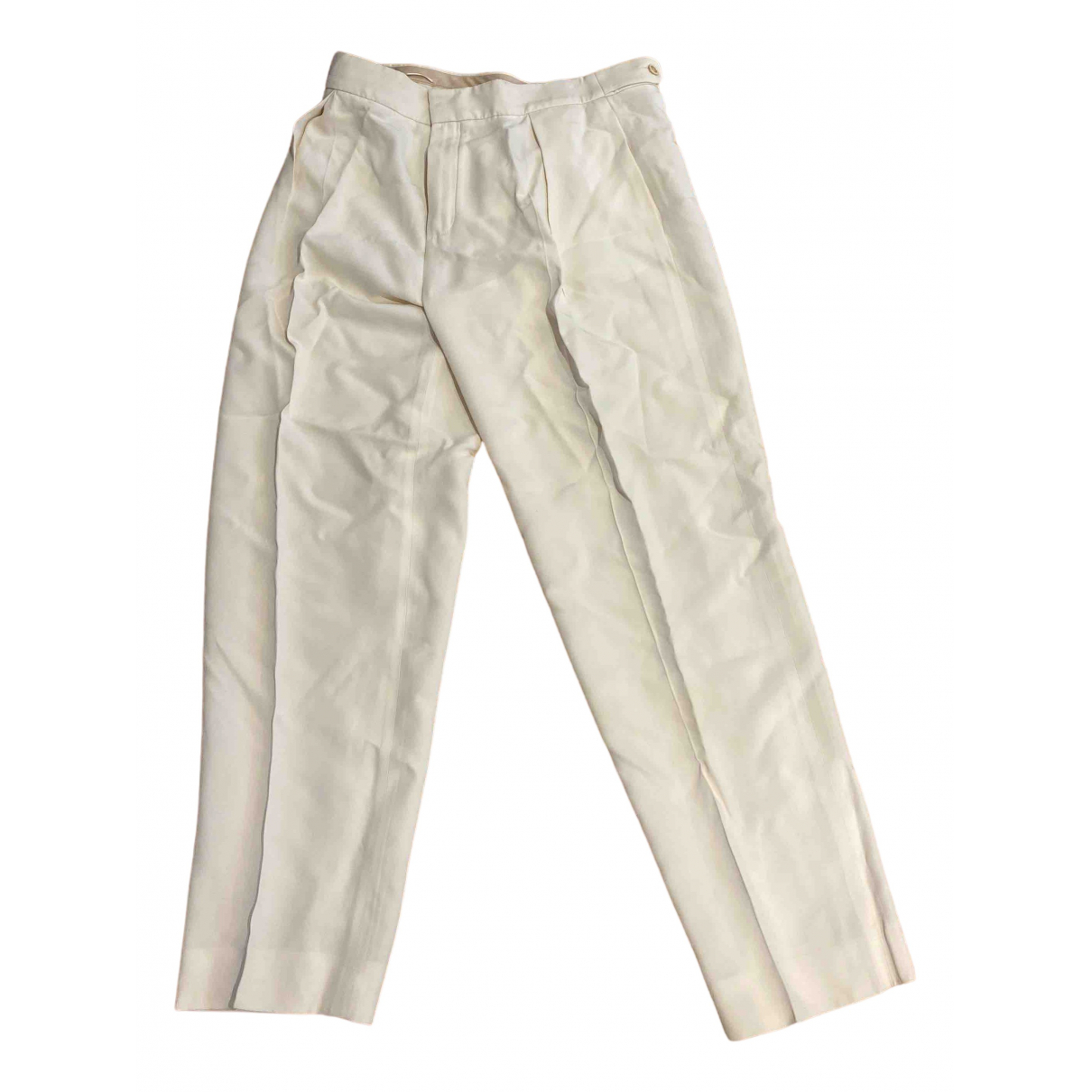 Chloé N White Cotton Trousers for Women 40 FR