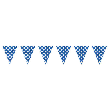 Royal Blue Polka Dot Party Decor Pennant Flag Banner, 12ft
