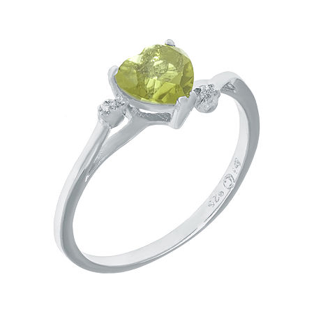 Genuine Peridot and White Topaz Sterling Silver Heart-Shaped Ring, 9 , No Color Family
