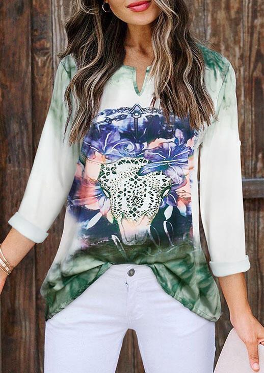 Steer Skull Floral Gradient T-Shirt Tee