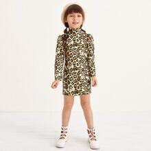 T-Shirt Kleid mit Stehkragen und Leopard Muster