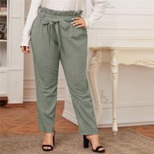 Hose mit Papiertaschen auf Taille, Karo Muster und Selbstband