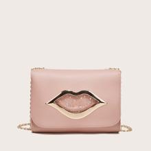 Lips Decor Flap Chain Crossbody Bag