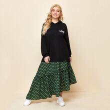 Kleid mit Buchstaben Grafik, Punkten Muster und asymmetrischem Saum