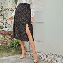 Ditsy Floral Split Thigh Skirt