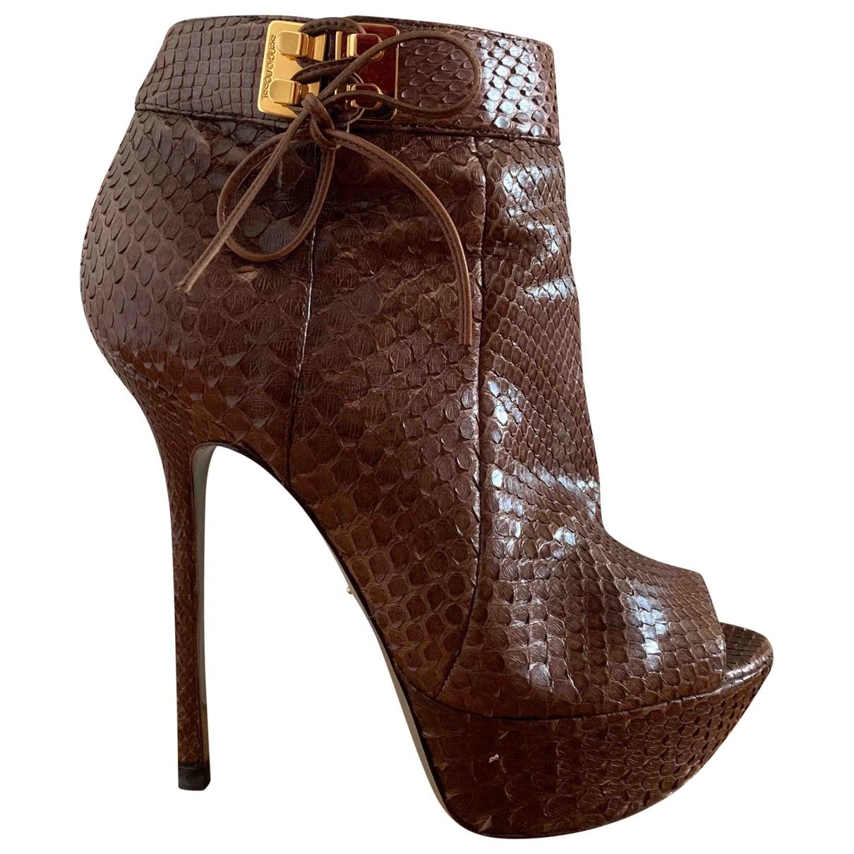 Sergio Rossi - Boots   pour femme en python - marron