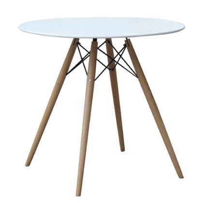 FMI10039-36-WHITE Fine Mod Imports WoodLeg Dining Table 36 Fiberglass Top in White