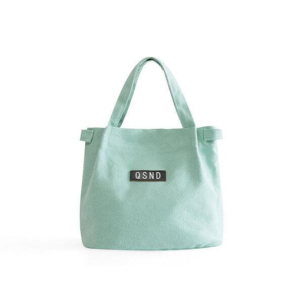 Lady Shoulder Bag Fashion Canvas Bucket Bag Bento Bag Simple Warm Color Lunch Bag