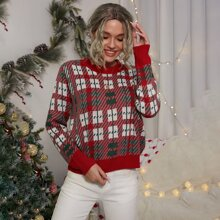Plaid Pattern Round Neck Sweater