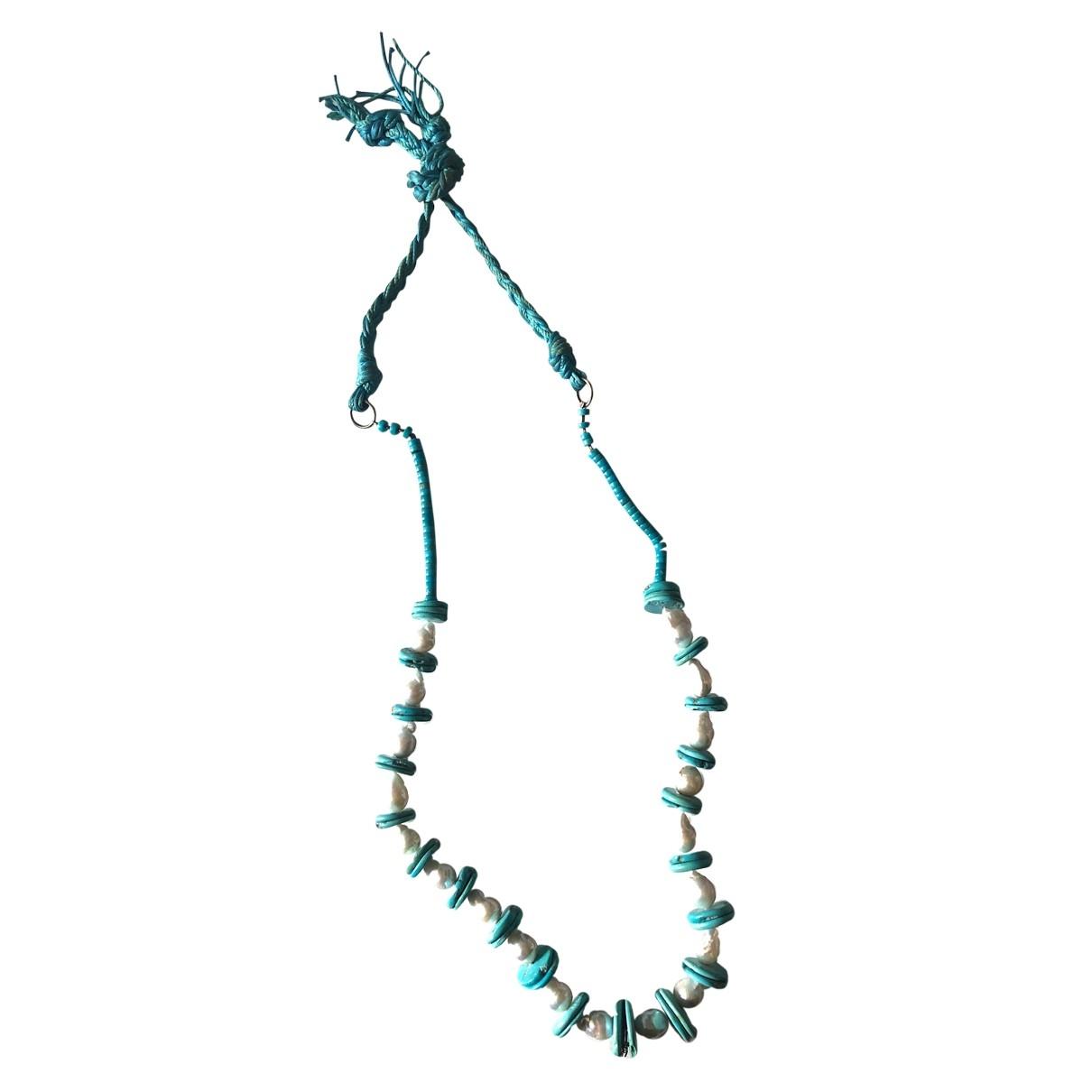 Non Signe / Unsigned Turquoises Halskette in  Tuerkis Leinen