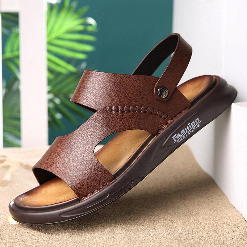Men Comfy Non Slip Soft Sole Beach Casual Leather Sandals