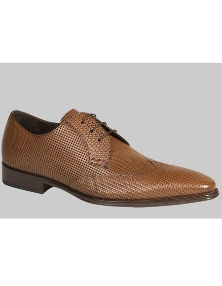 Mens Tan Perforated Calfskin Wingtip Lace Up Leather Shoes Brand