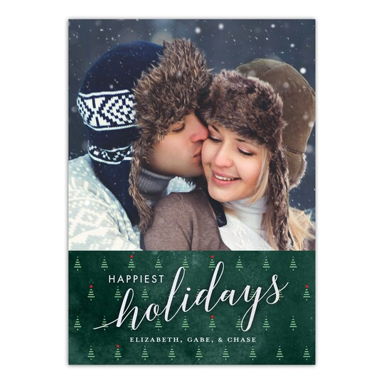 20 Pack of Gartner Studios® Personalized Happiest Holiday Trees Christmas Flat Photo Card in Forest   5