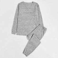 Men Solid Sweatshirt & Sweatpants PJ Set
