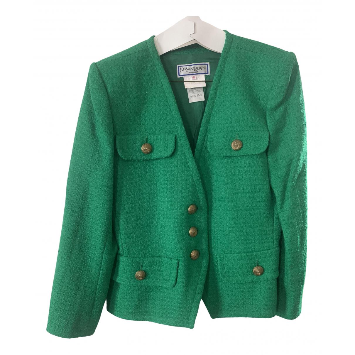 Yves Saint Laurent \N Green Tweed jacket for Women 42 FR