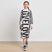 Girls Letter Graphic Drop Shoulder Dress