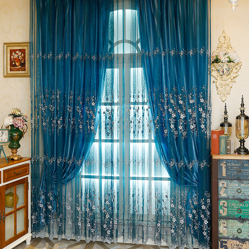 Elegant and Romantic Blue Embroidered White Flowers Yarn with Bead Custom Sheer Curtain