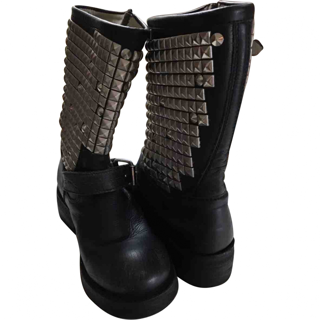 Ash \N Black Leather Ankle boots for Women 37.5 EU