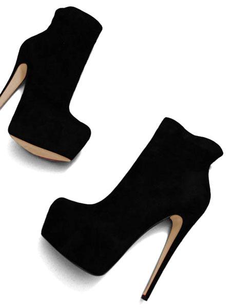 Milanoo Botines estilo moderno Cuero con apariencia suave estilo street wear para aumentar la altura Color liso de puntera de forma de almendra