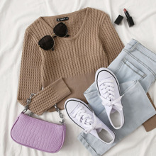 V Neck Cable Knit Crop Sweater