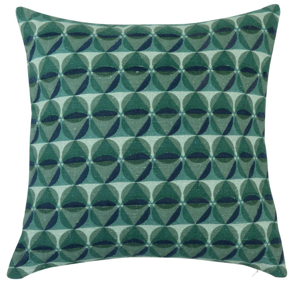 Kissenbezug aus Baumwolle, gruen und marineblau, mit aufgestickten Grafikmustern 40x40