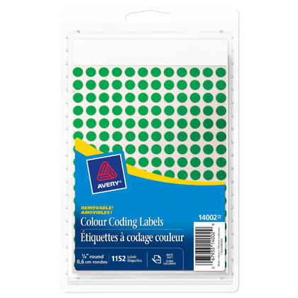 Avery@ amovible etiquettes handwrite a codage couleur - 1/4�de diametre, 1152/paquet, vert