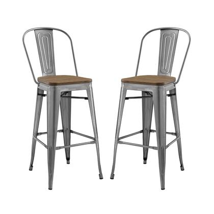 Promenade Collection EEI-3896-GME-SET Set of 2 Bar Stools with Footrest Support  Industrial Style  Laminated Bamboo Square Shaped Seat and Vintage