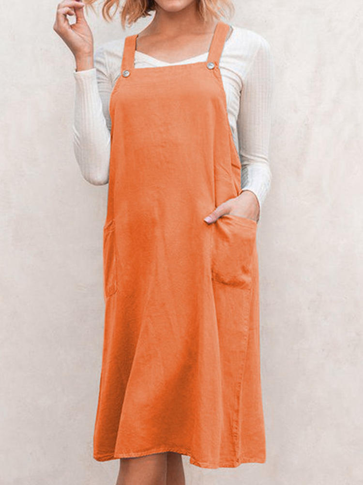 Pure Color Straps Sleeveless Pocket Casual Dress