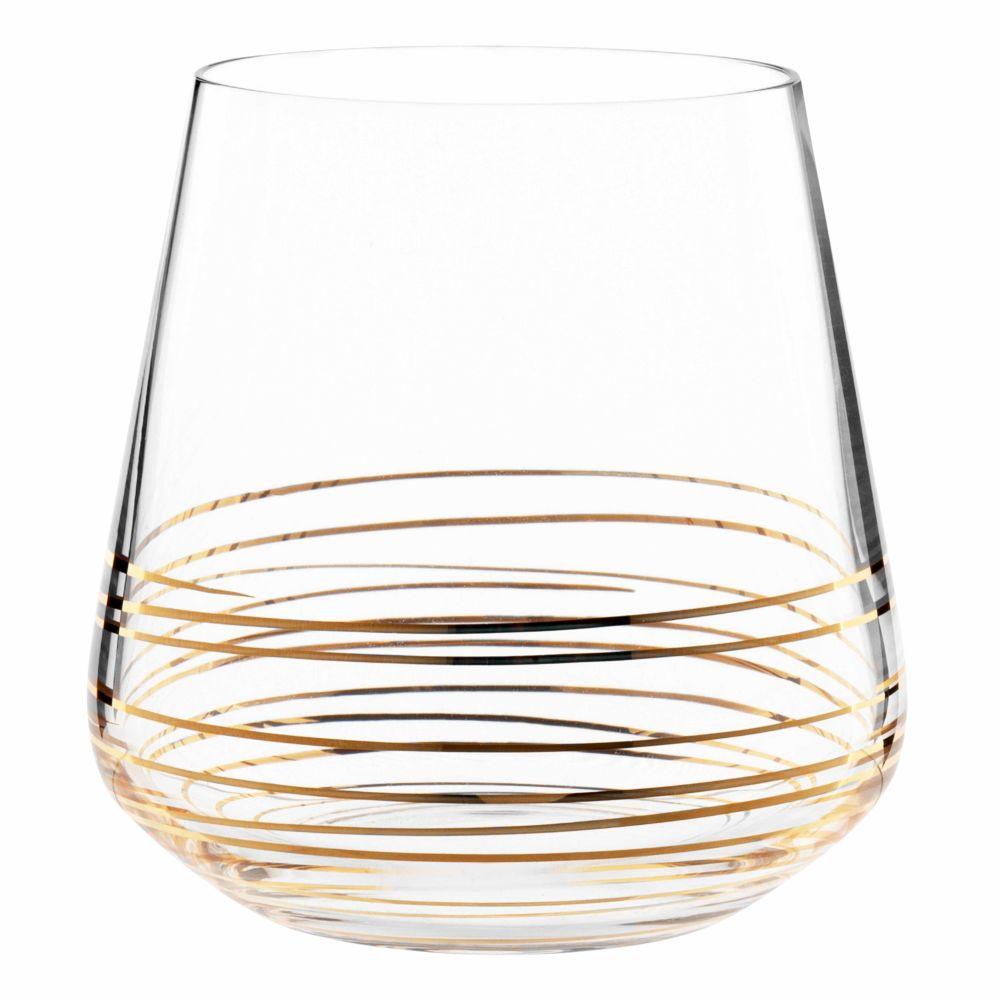 Glasbecher mit goldener Spirale