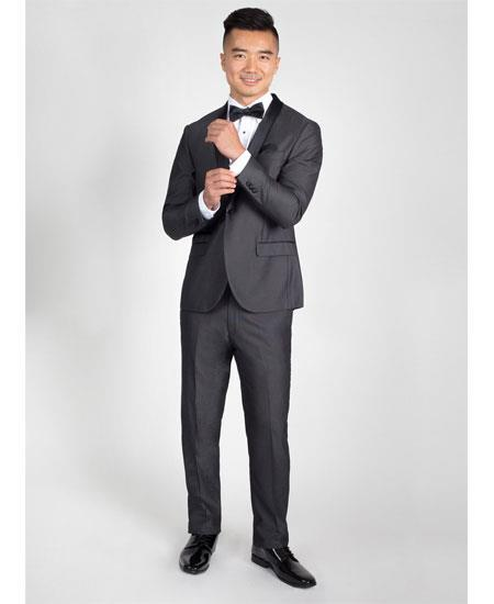 Men's Side Vents Charcoal Slim Fit Tuxedo with Black Shawl Lapel