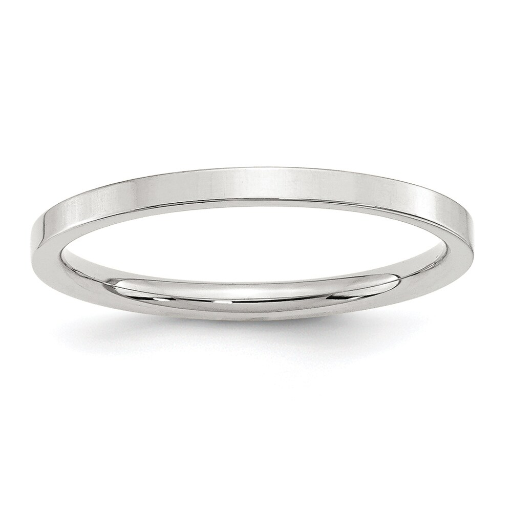 Sterling Silver 2mm Polished Comfort Fit Flat Band by Versil - White (4.5)