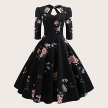 Plus Floral Print Fit And Flare Dress