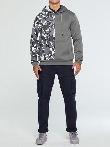 Yoins Men Fall/Winter Casual Patchwork Camo Hooded Sweatshirt