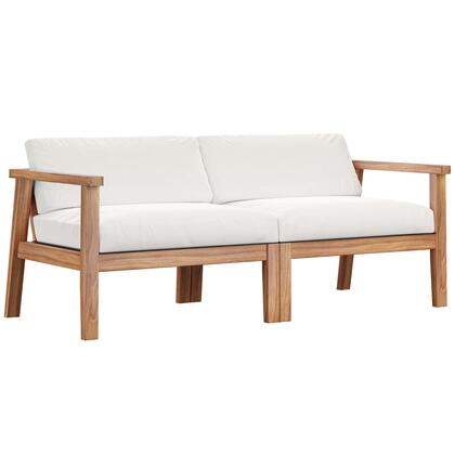 Bayport Collection EEI-4259-NAT-WHI-SET Outdoor Patio Teak Wood 2-Seater Loveseat in Natural White