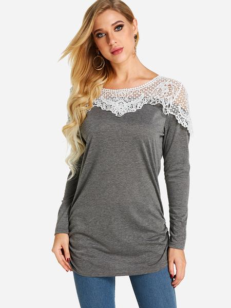 Yoins Grey Lace Insert See Through Design Plain Crew Neck Long Sleeves T-shirt
