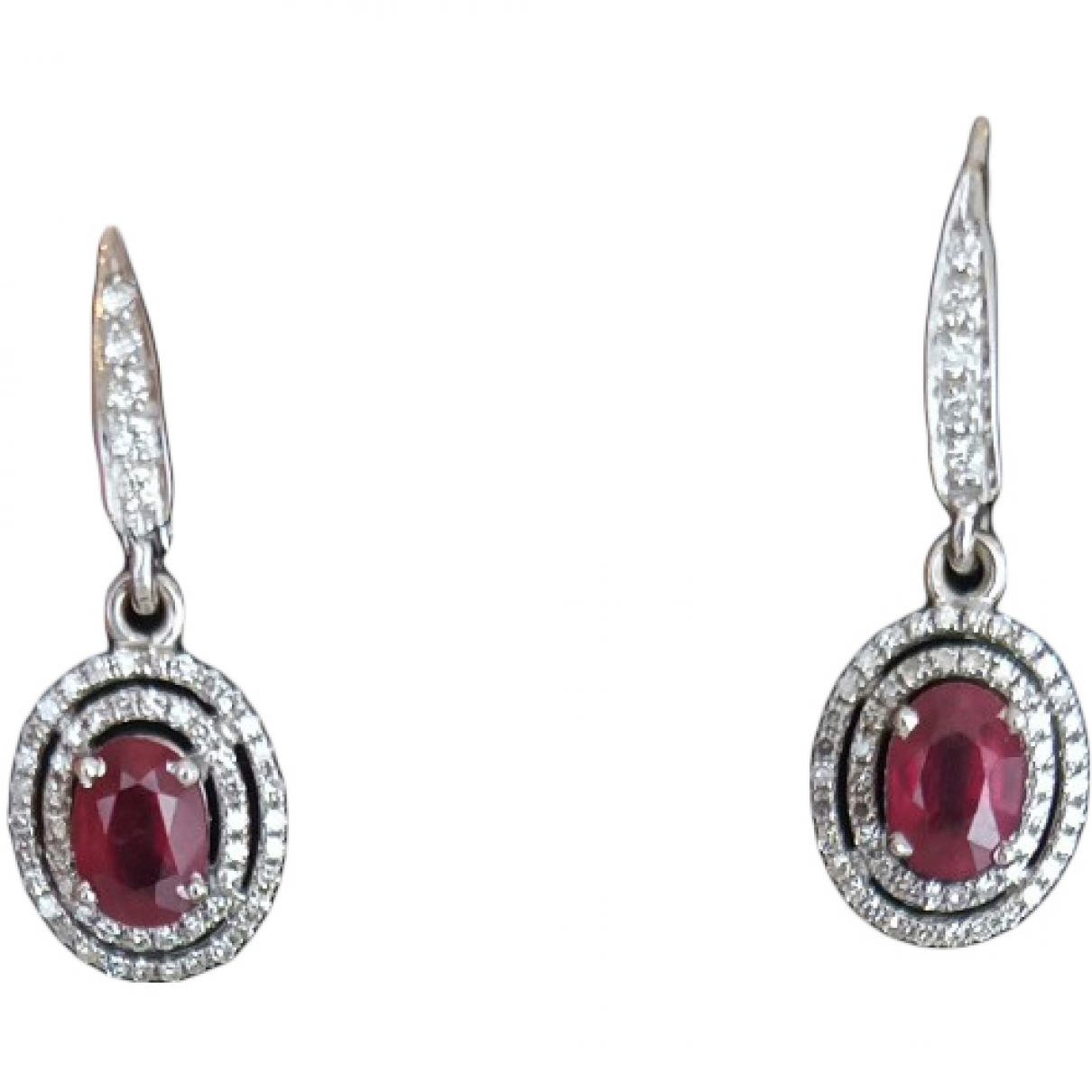 Non Signé / Unsigned Rubis Red White gold Earrings for Women \N