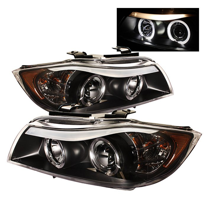 Spyder 4Dr Halo Amber Black Projector HeadLights BMW E90 3-Series 06-08