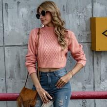 Crop Pullover mit Stehkragen und Zopfmuster