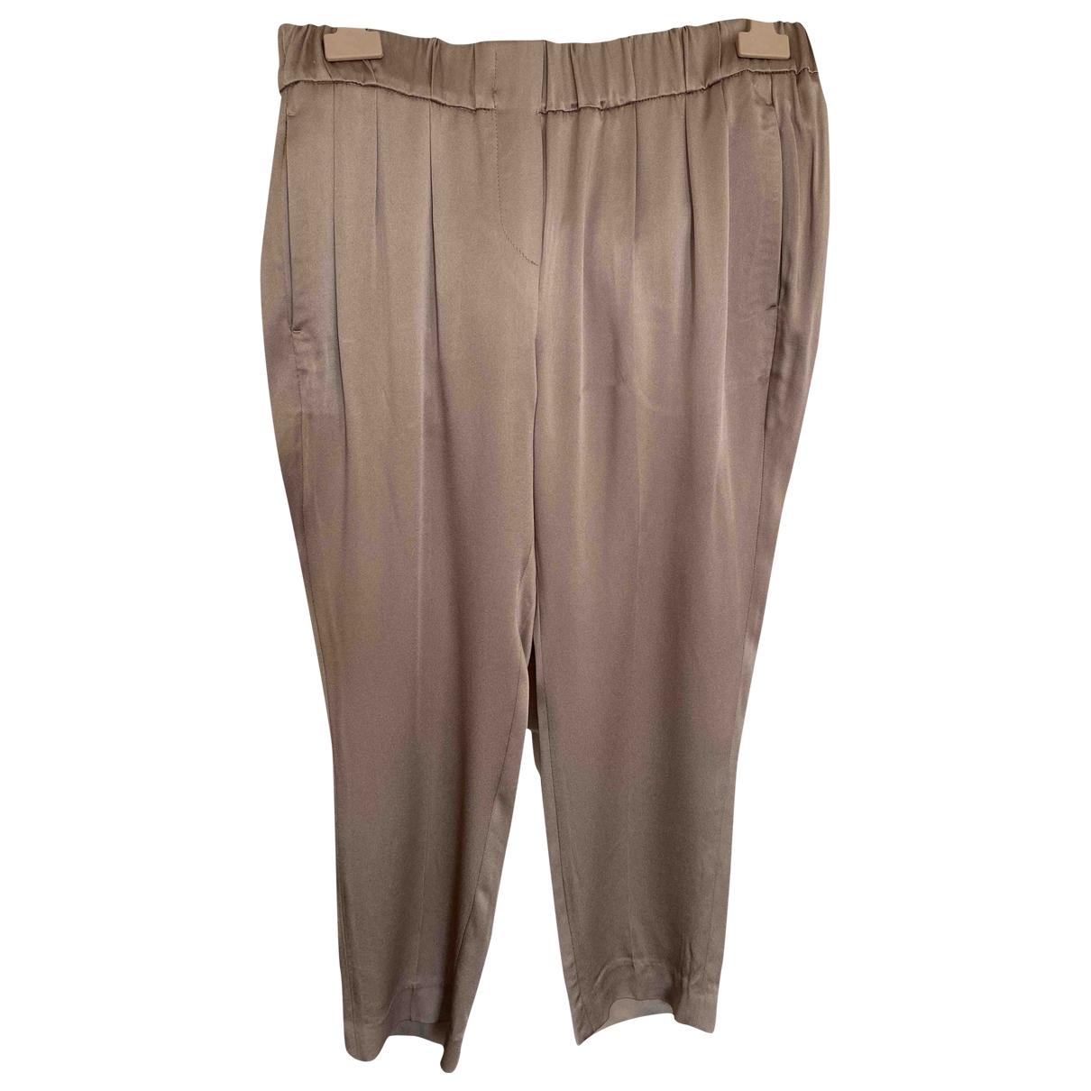 Brunello Cucinelli \N Brown Silk Trousers for Women 42 IT