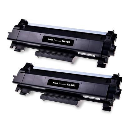 Compatible Brother TN760 cartouche de toner noire haute capacite - avec chip - boite economique - 2/paquet