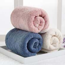 1pc Solid Color Absorbent Towel