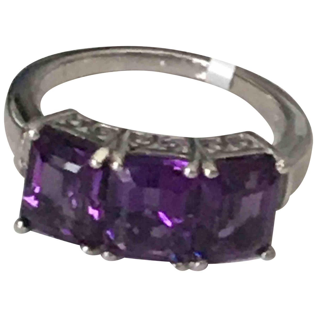 Non Signe / Unsigned Amethyste Ring in  Lila Vermeil
