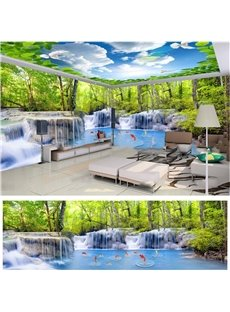 Blue Sky Trees and Lakes Pattern 3D Waterproof Ceiling and Wall Murals