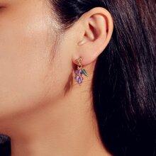 Beaded Grape Drop Earrings