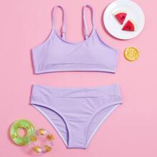 Girls Adjustable Strap Bikini Swimsuit
