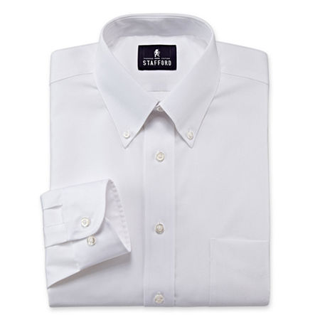 Stafford Mens Wrinkle Free Pintpoint Button Down Collar Oxford Dress Shirt, 15 32-33, White