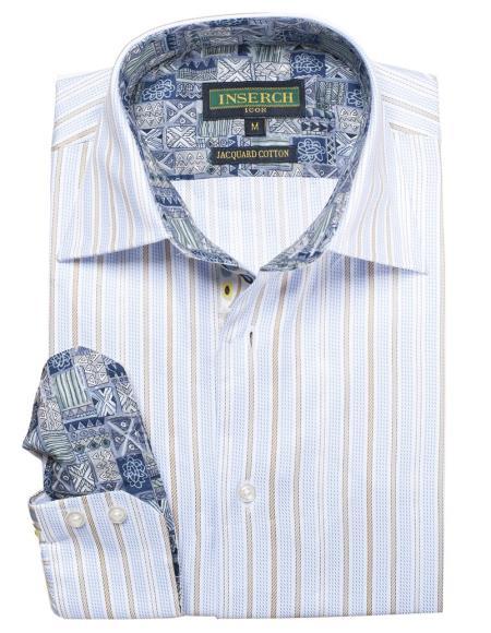 Men's Sky Blue Cotton Jacquard Stripes With Contrast Trimmed Shirt
