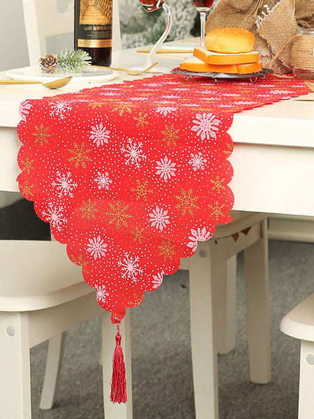 Milanoo Christmas Table Cloth Print Tassel Christmas Party Ornament