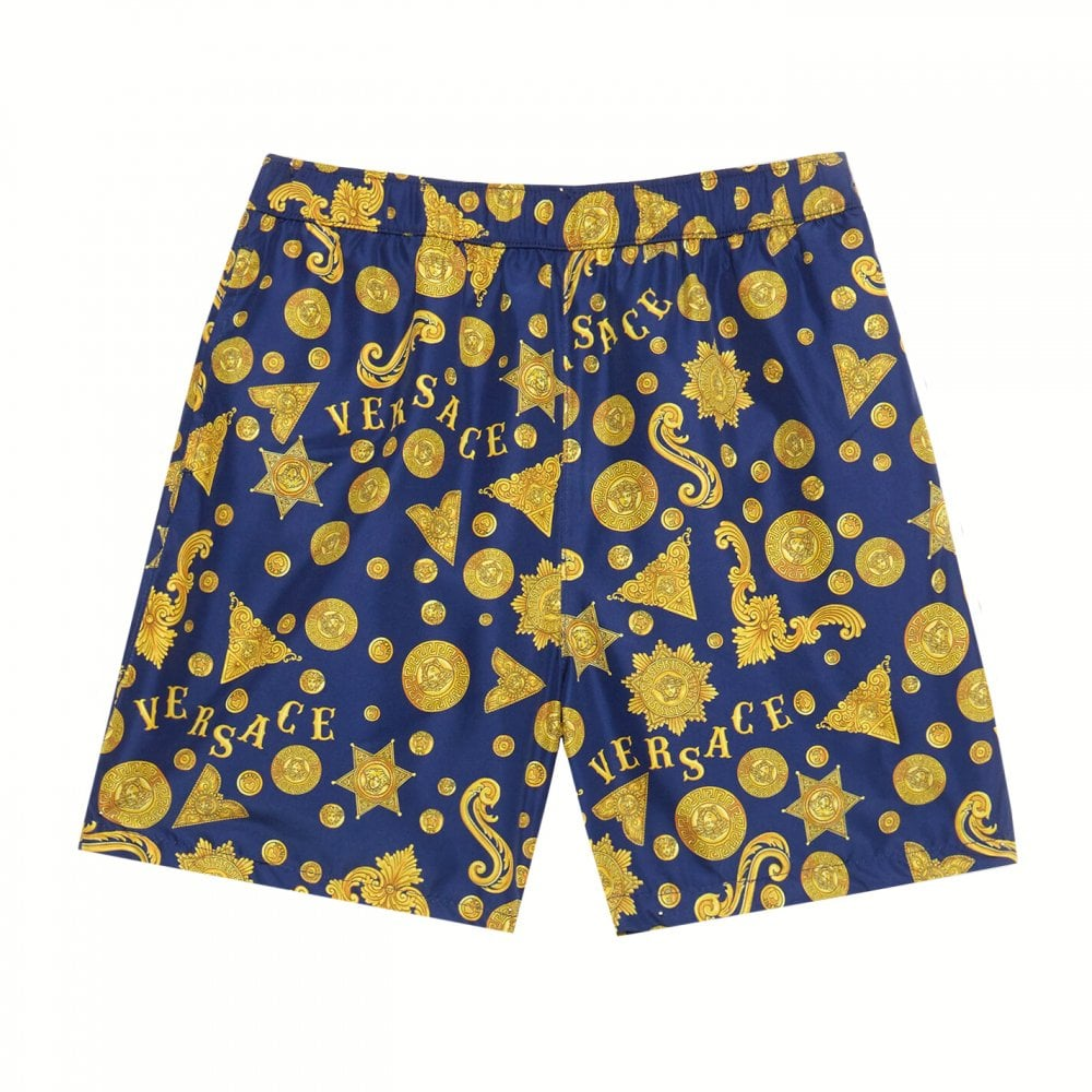 Versace Boys Navy Gold Swim Shorts Colour: NAVY, Size: 4 YEARS